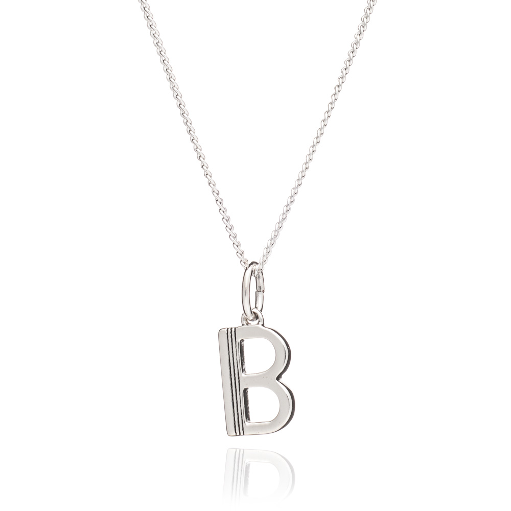 This Is Me 'B' Alphabet Necklace - Silver