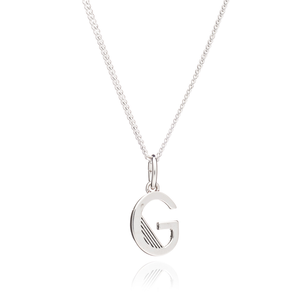 'G' Alphabet Necklace - Silver