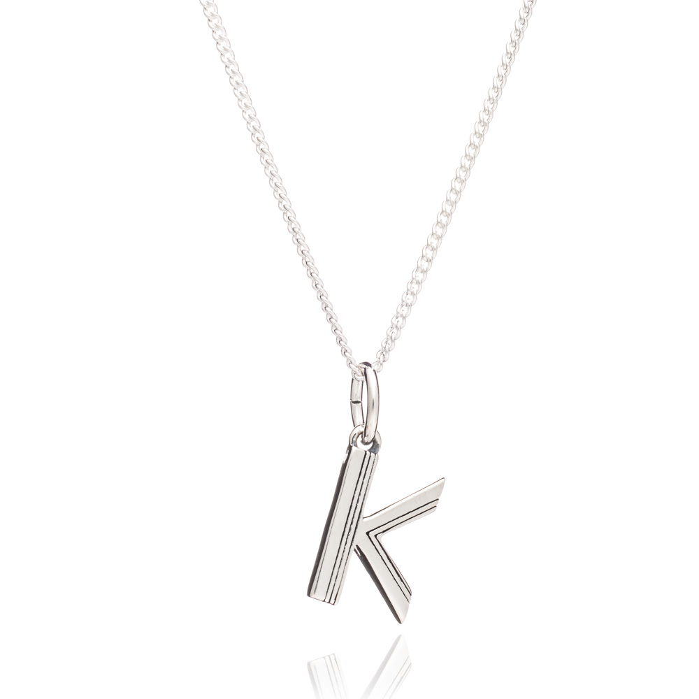 This Is Me 'K' Alphabet Necklace - Silver