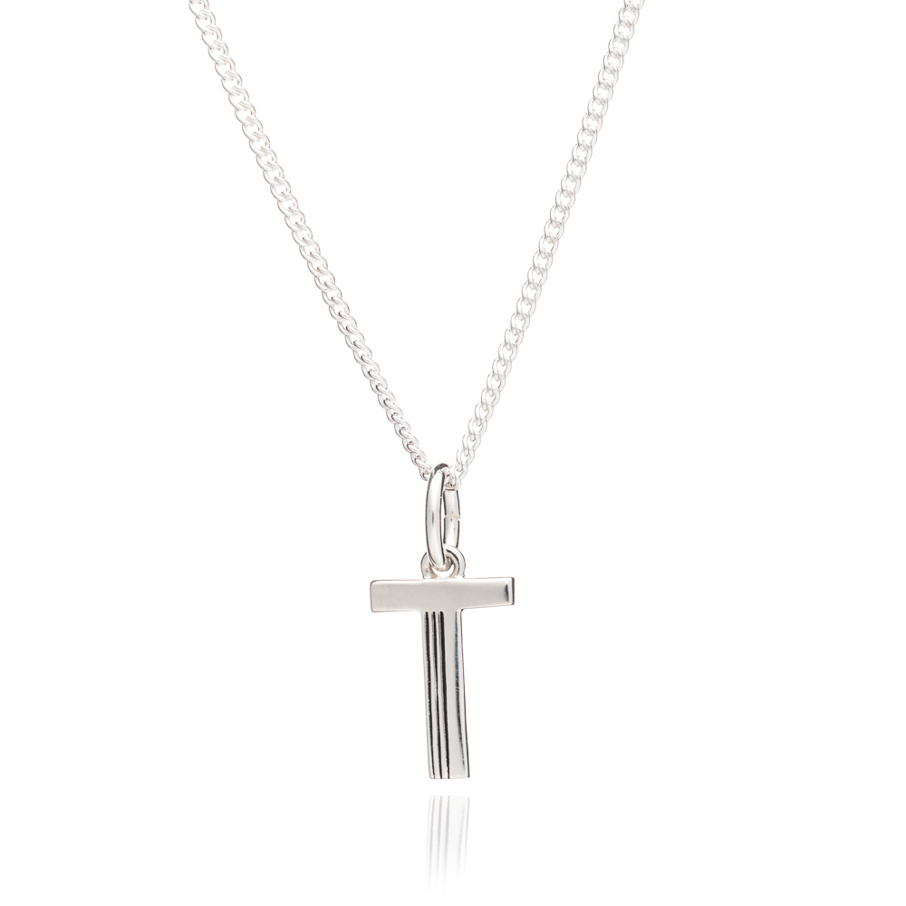 'T' Alphabet Necklace - Silver
