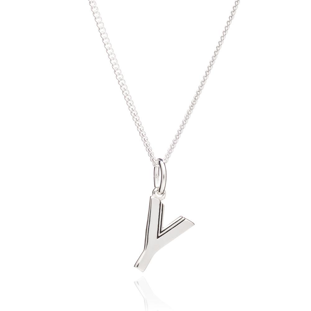 'Y' Alphabet Necklace - Silver