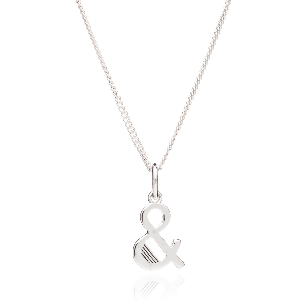 '&' Alphabet Necklace - Silver