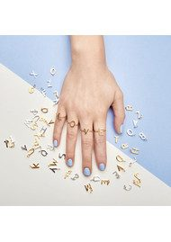 RACHEL JACKSON 'B' Adjustable Alphabet Ring - Silver