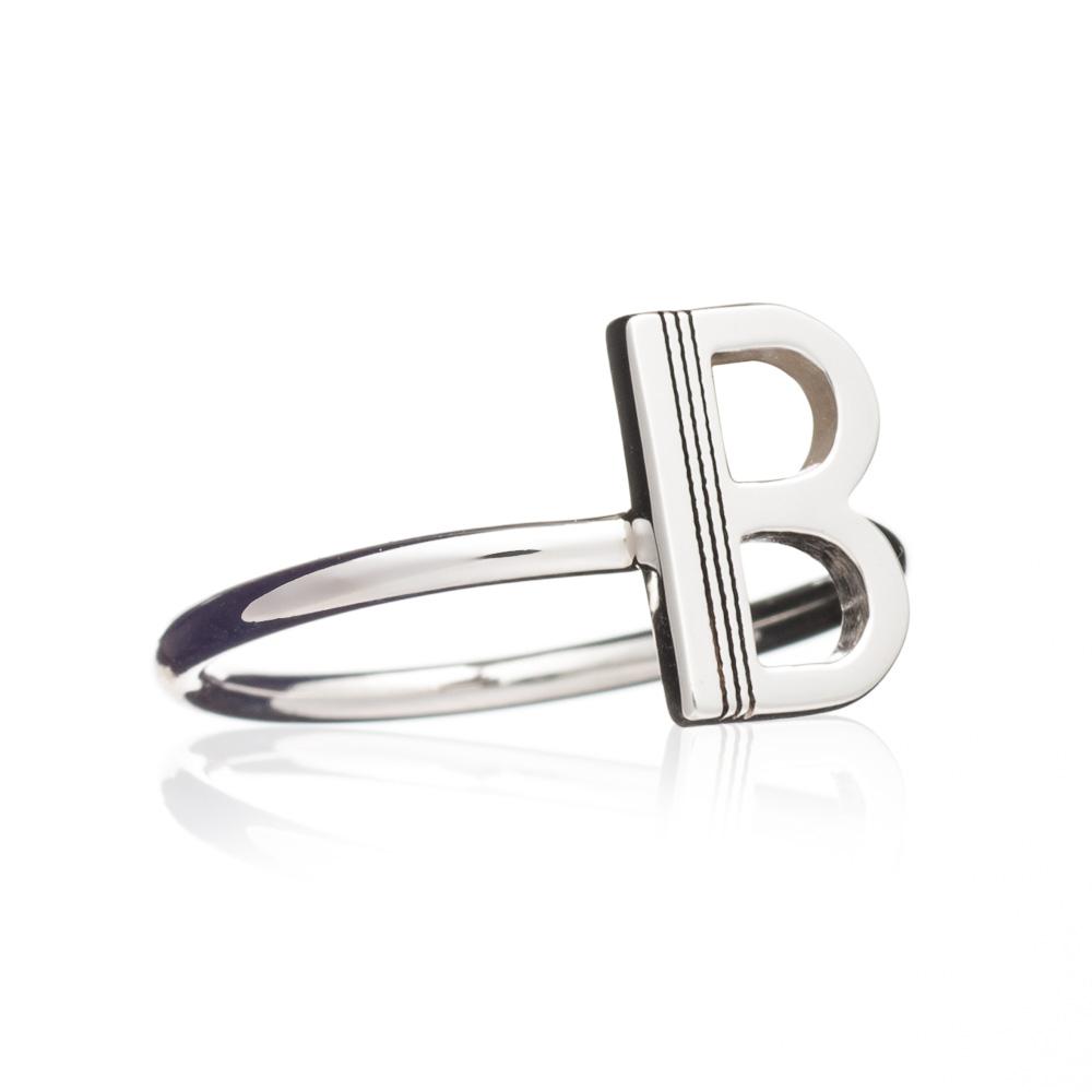 'B' Adjustable Alphabet Ring - Silver