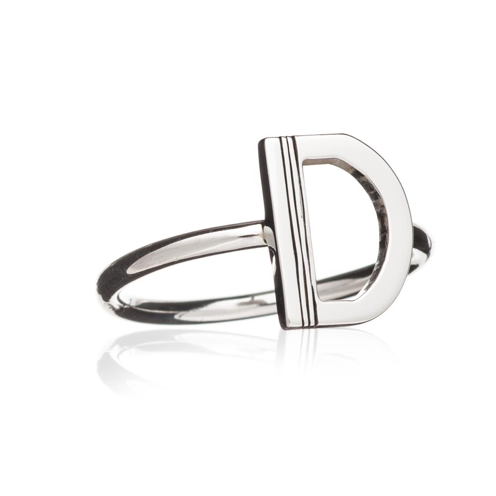 'D' Adjustable Alphabet Ring - Silver