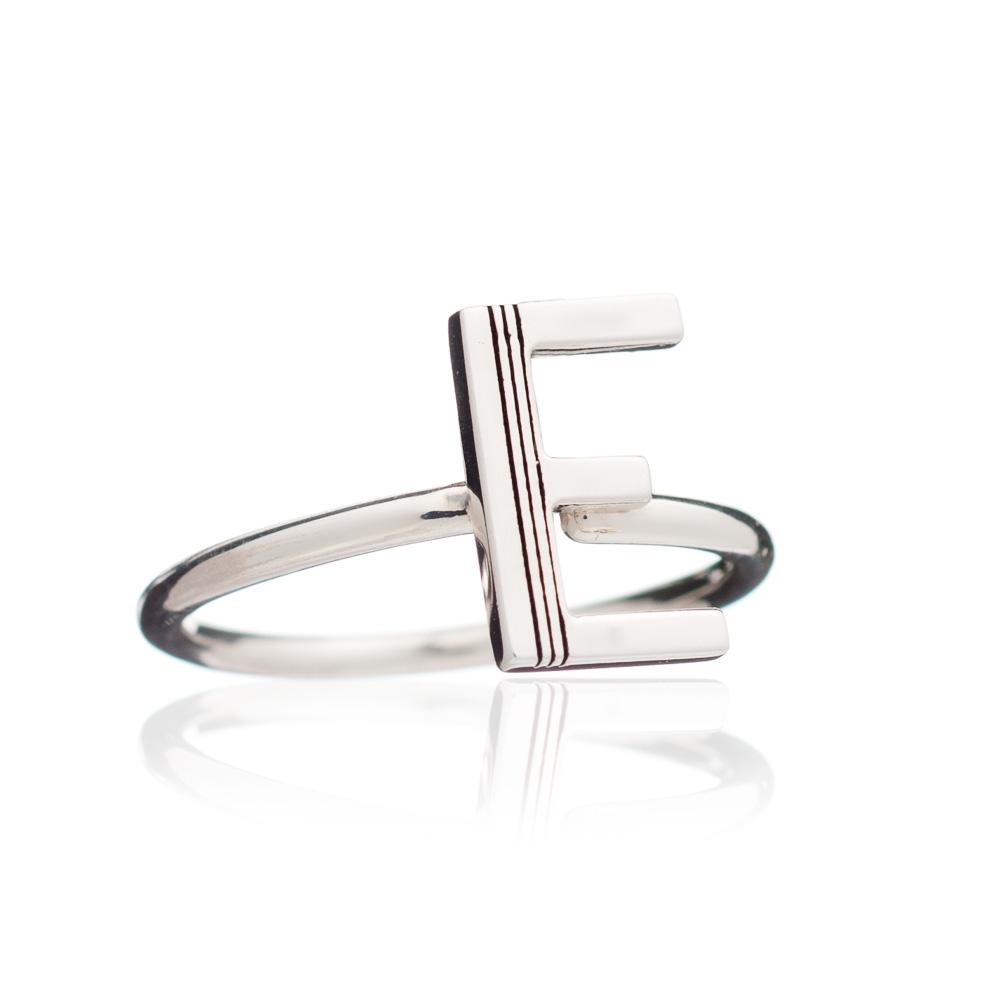 'E' Adjustable Alphabet Ring - Silver
