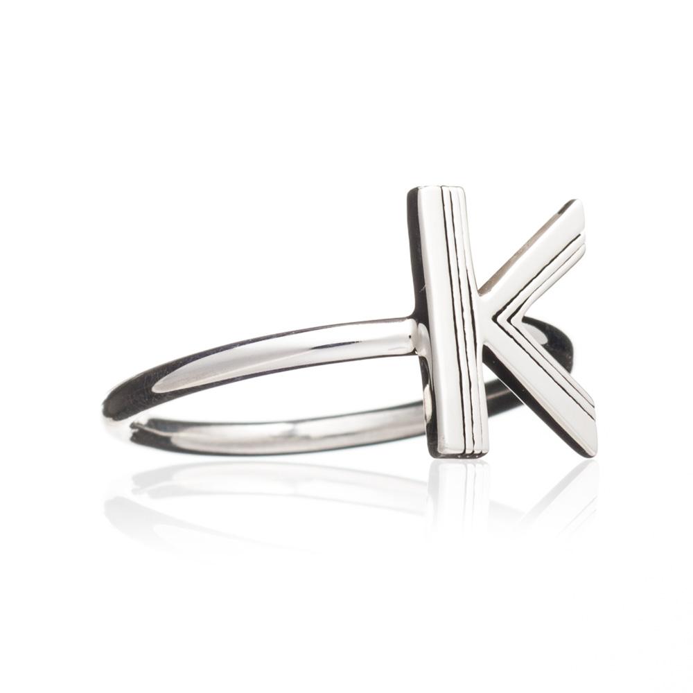 'K' Adjustable Alphabet Ring - Silver