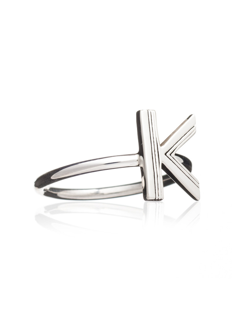 RACHEL JACKSON 'K' Adjustable Alphabet Ring - Silver main image
