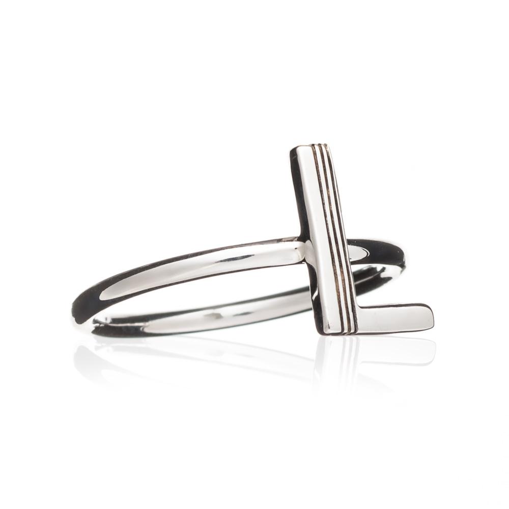 'L' Adjustable Alphabet Ring - Silver