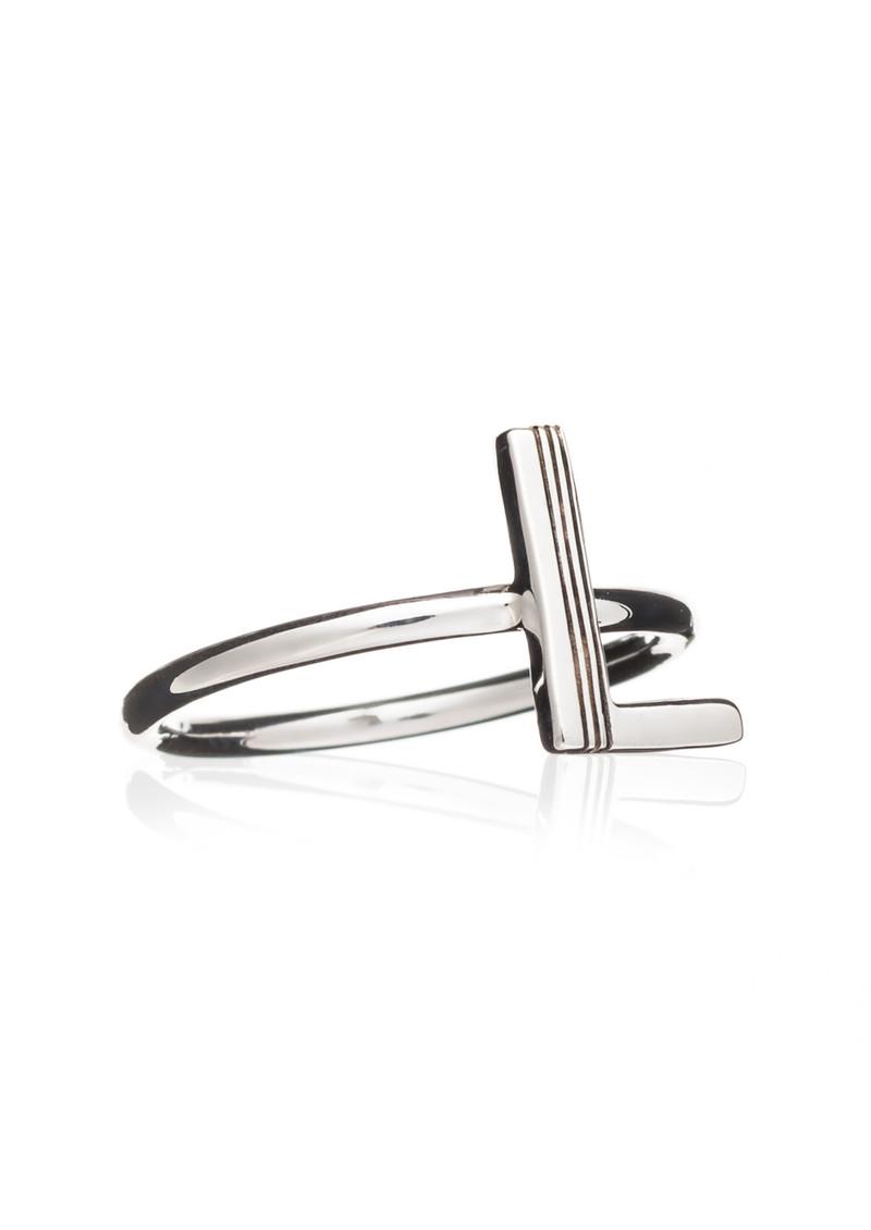 RACHEL JACKSON 'L' Adjustable Alphabet Ring - Silver main image
