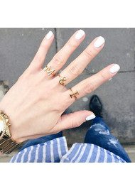 RACHEL JACKSON 'M' Adjustable Alphabet Ring - Silver