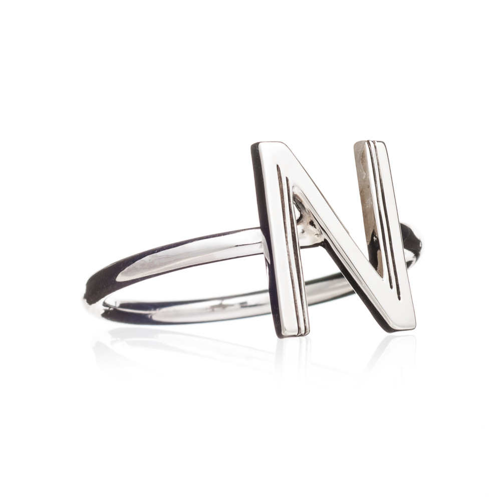 'N' Adjustable Alphabet Ring - Silver