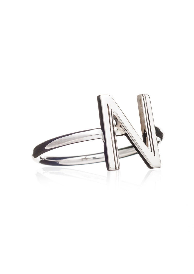'N' Adjustable Alphabet Ring - Silver main image