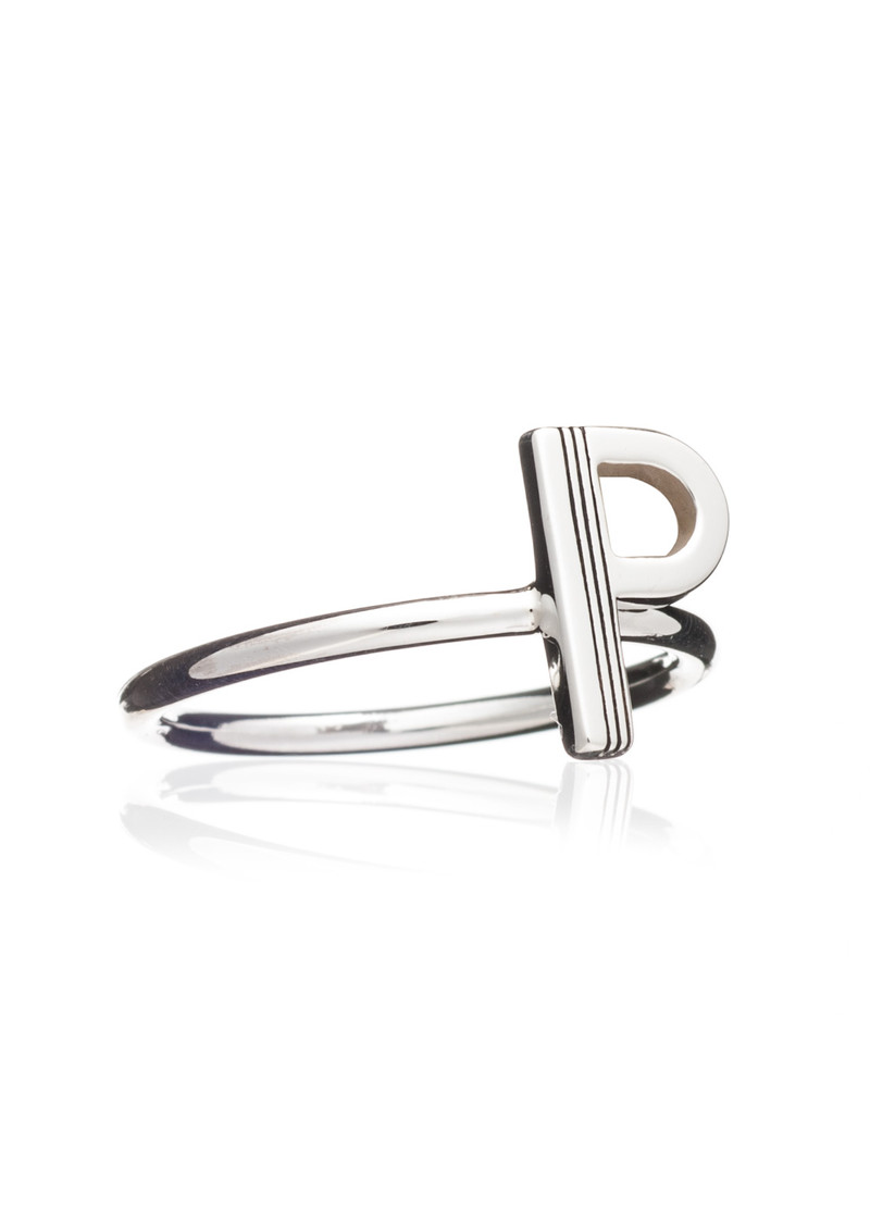 'P' Adjustable Alphabet Ring - Silver main image