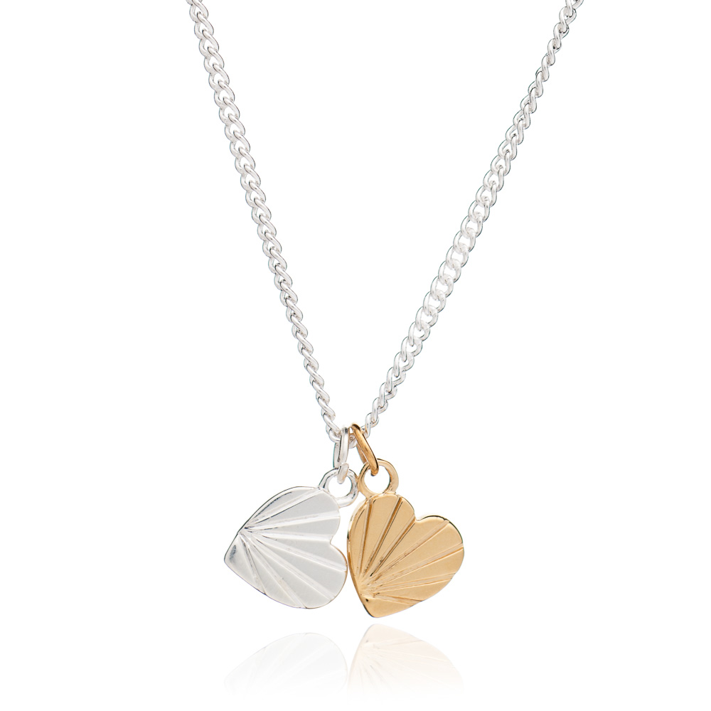 Double Heart Charm Necklace - Silver & Gold