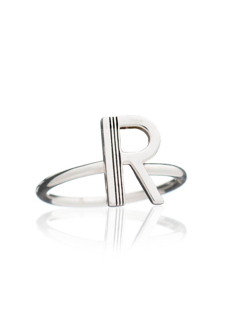 RACHEL JACKSON 'R' Adjustable Alphabet Ring - Silver main image
