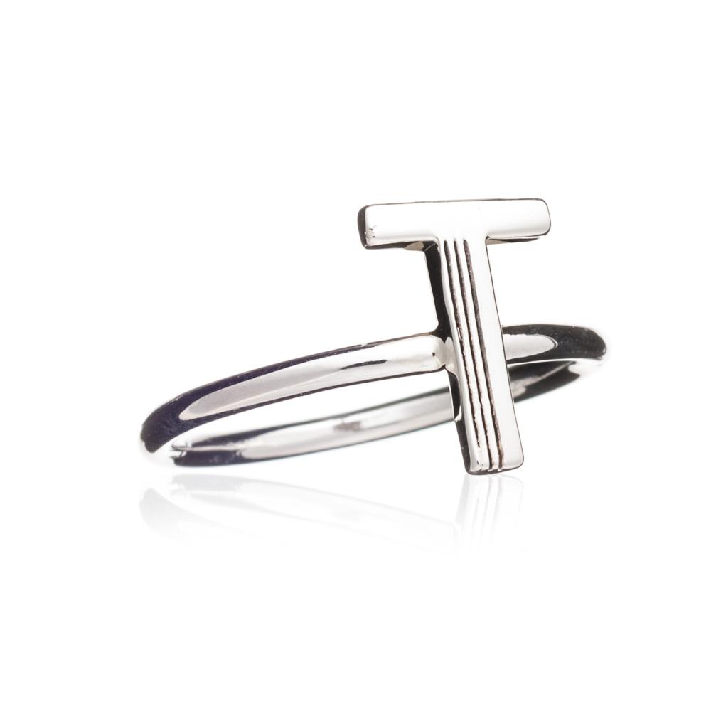 'T' Adjustable Alphabet Ring - Silver