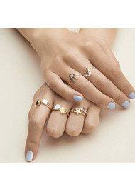RACHEL JACKSON 'V' Adjustable Alphabet Ring - Silver