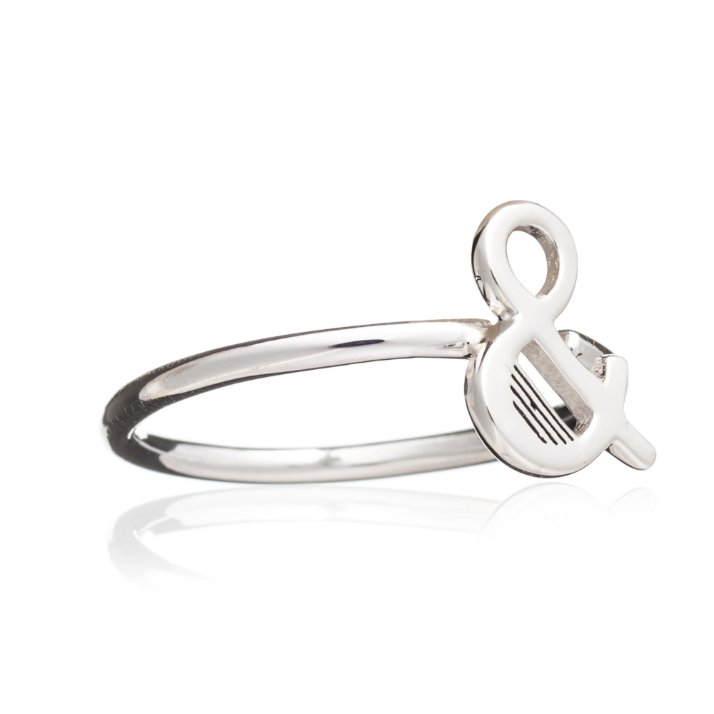 '&' Adjustable Alphabet Ring - Silver