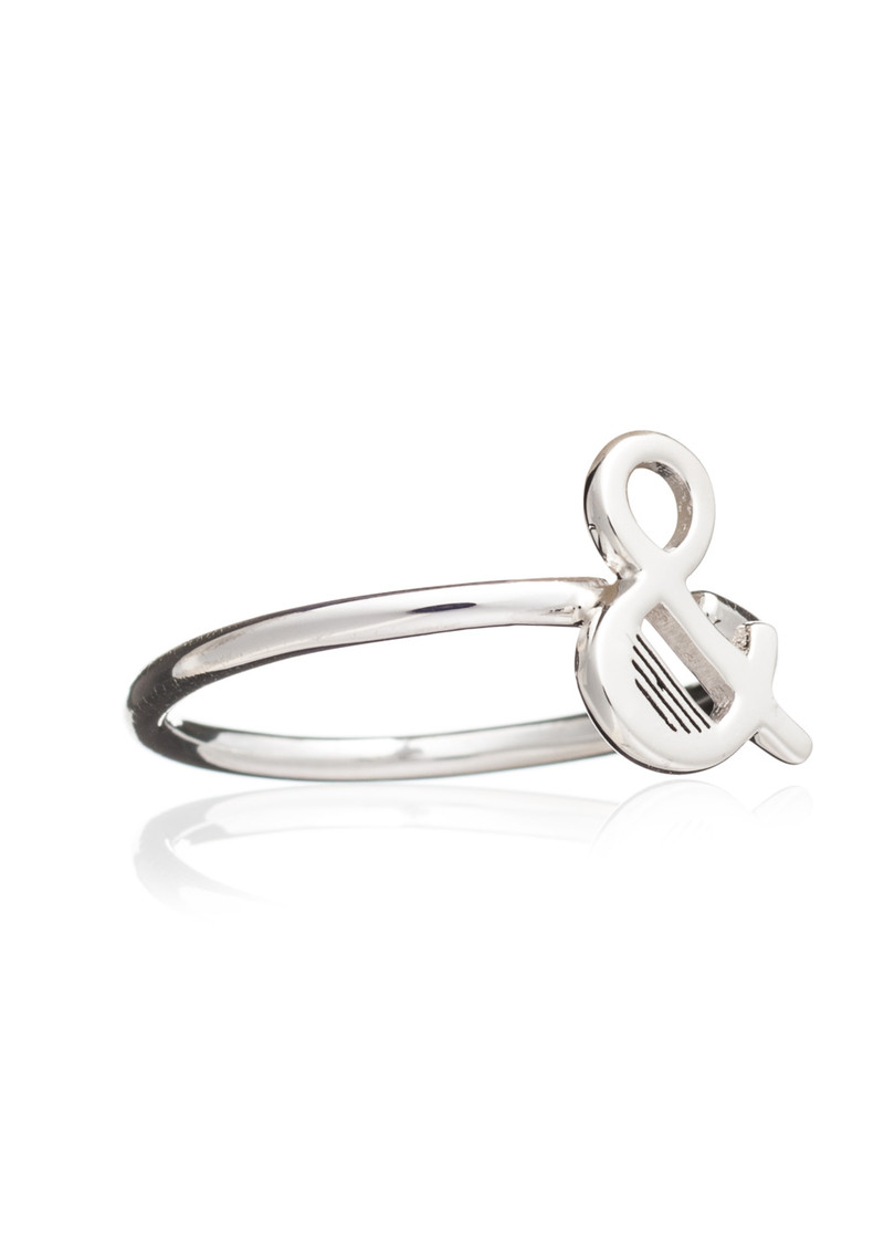 '&' Adjustable Alphabet Ring - Silver main image
