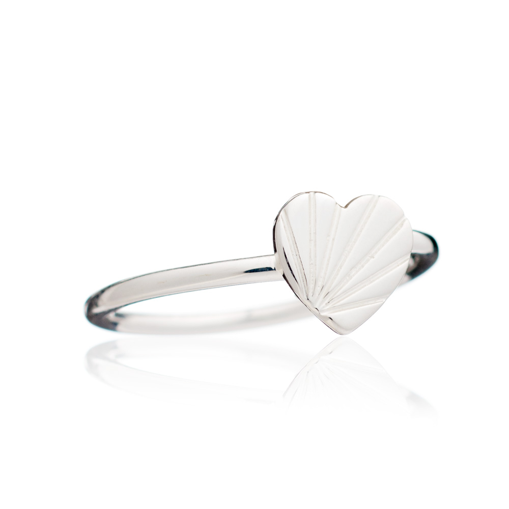 Adjustable Heart Ring - Silver