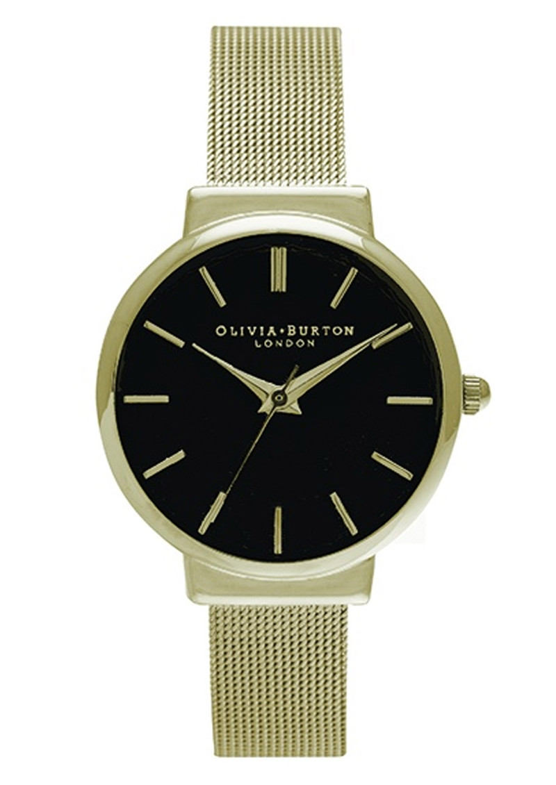 Olivia Burton Hackney Black Dial Watch - Black & Gold main image