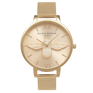 Moulded Bee Mesh Watch - Gold