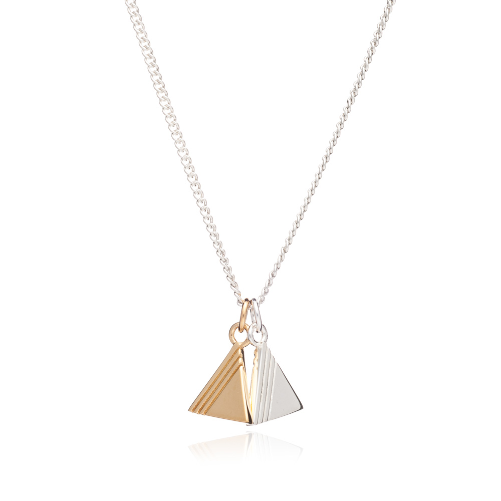Double Triangle Charm Necklace - Silver & Gold