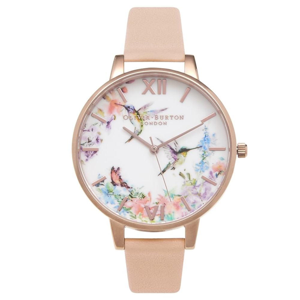 Painterly Prints Hummingbird Watch - Peach & Rose Gold