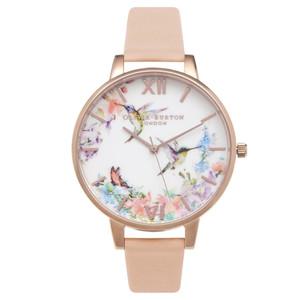 Painterly Prints Hummingbird Watch - Peach & Rose Gold