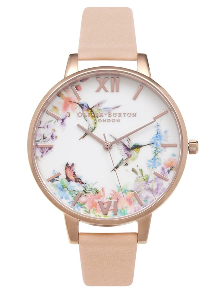 Olivia Burton Painterly Prints Hummingbird Watch - Peach & Rose Gold main image