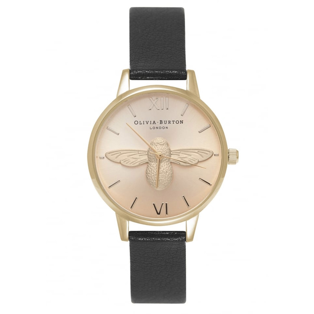 Midi Moulded Bee Watch - Black & Gold