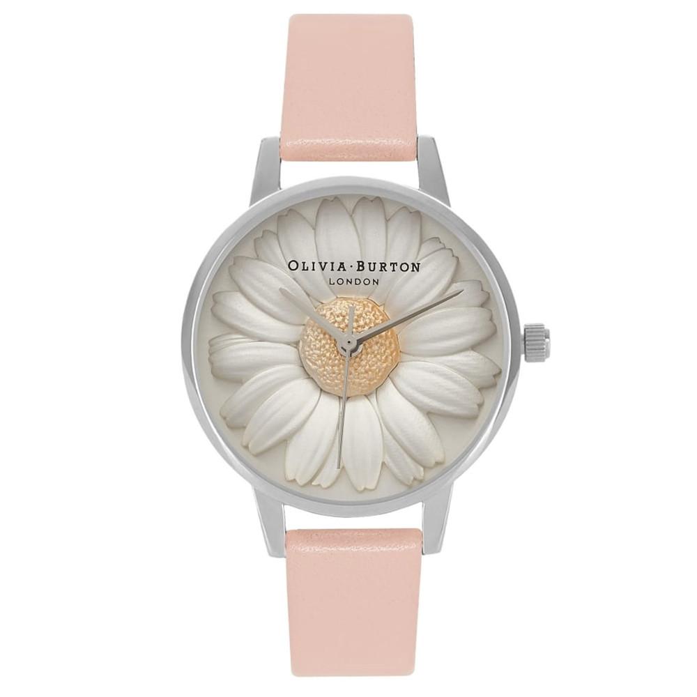 Flower Show 3D Daisy Watch - Dusty Pink & Silver