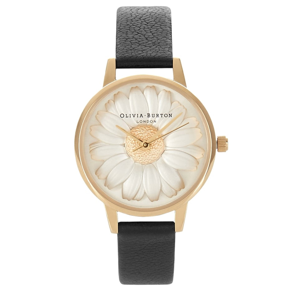 Flower Show 3D Daisy Watch - Black & Gold