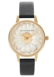 Olivia Burton Flower Show 3D Daisy Watch - Black & Gold