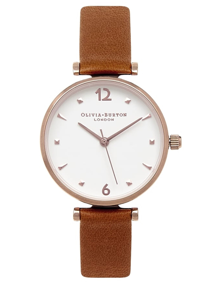 Olivia Burton Modern Vintage T-Bar Watch - Tan & Rose Gold main image
