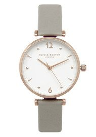 Olivia Burton modern Vintage T-Bar Watch - Grey & Gold