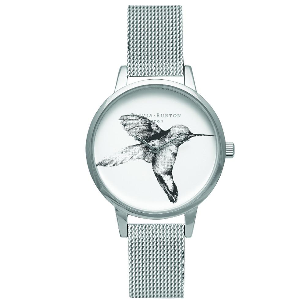 Animal Motif Hummingbird Mesh Watch - Silver