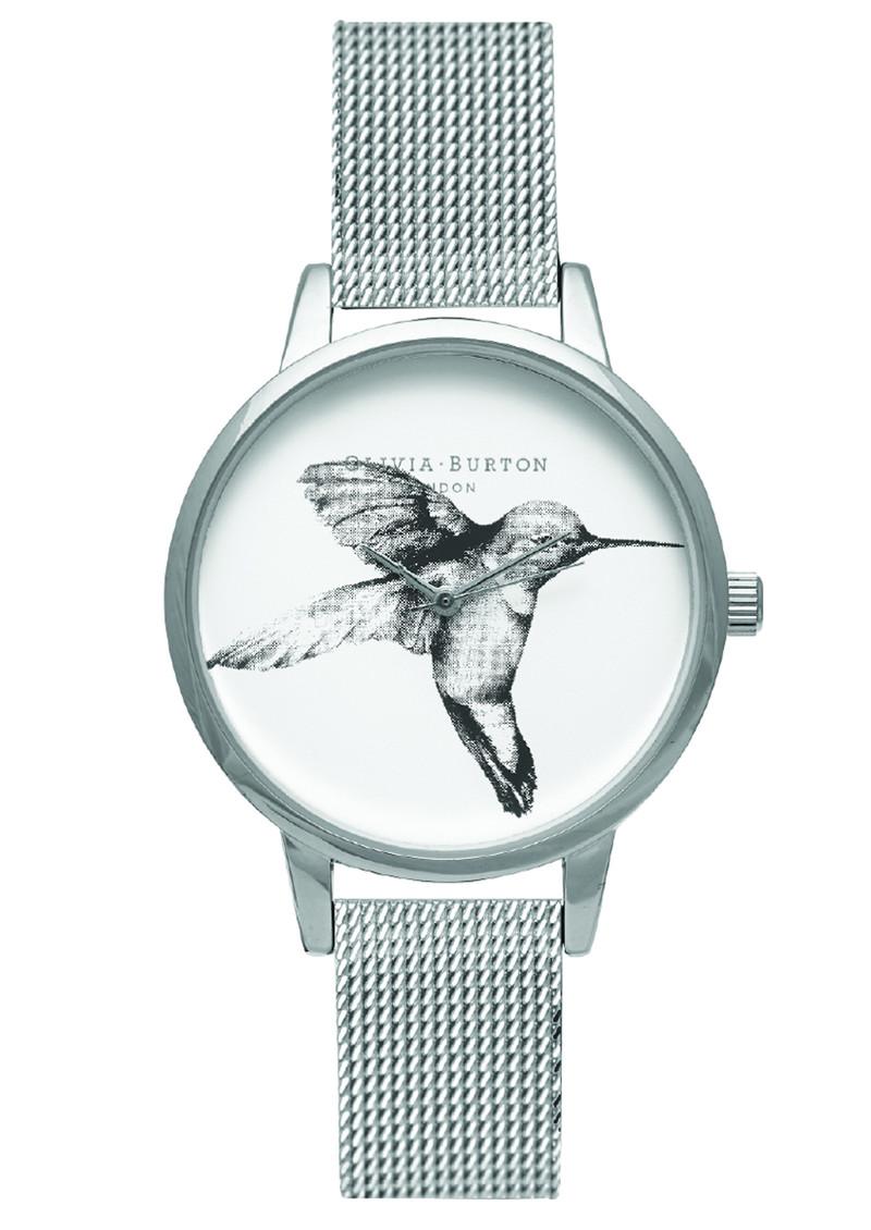 Olivia Burton Animal Motif Hummingbird Mesh Watch - Silver main image