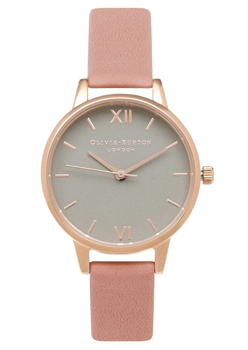 Olivia Burton Midi Dial Grey Dial Watch - Dusty Pink & Rose Gold main image