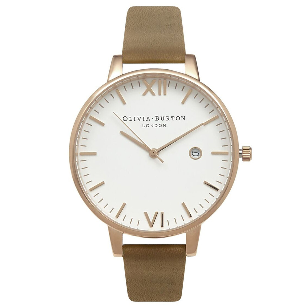 Timeless White Face Watch - Taupe & Gold