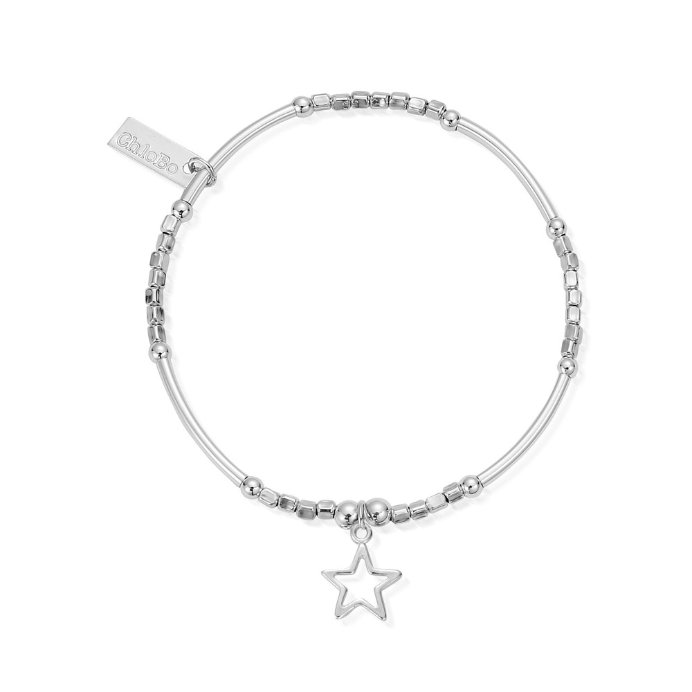 Newbies Mini Noodle Cube Small Open Star Bracelet - Silver