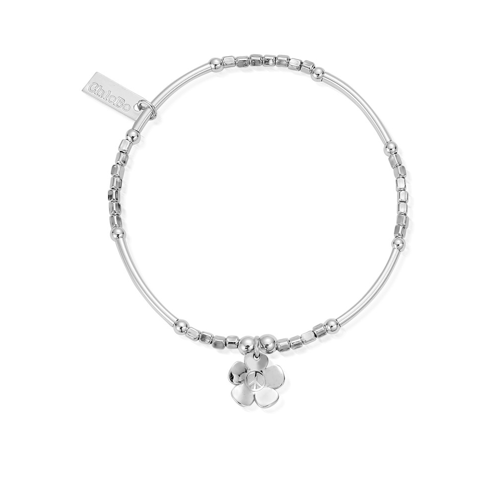 Newbies Mini Noodle Cube Peace Flower Bracelet - Silver