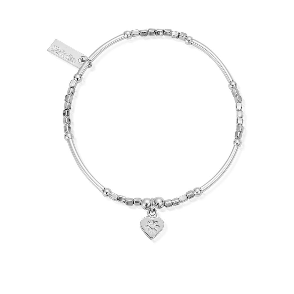 Newbies Mini Noodle Cube Flower Heart Bracelet - Silver