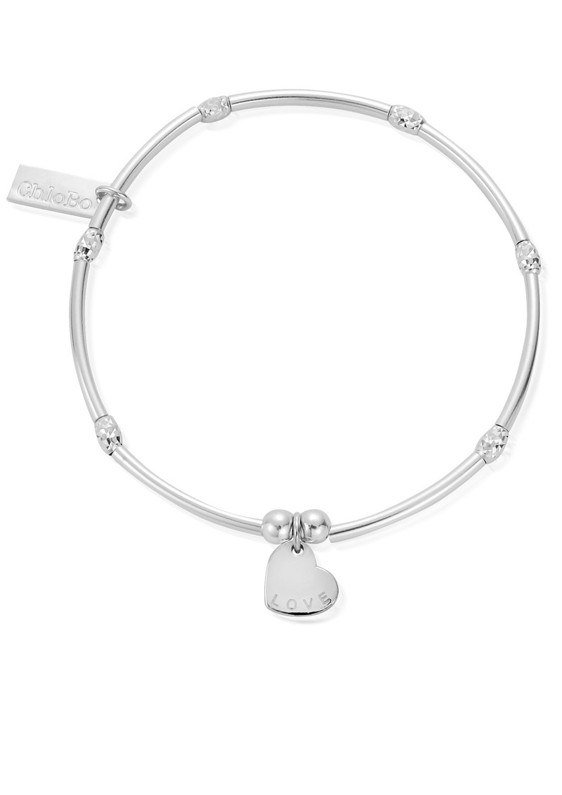 ChloBo Newbies Mini Noodle Sparkle Rice Love Heart Bracelet - Silver main image
