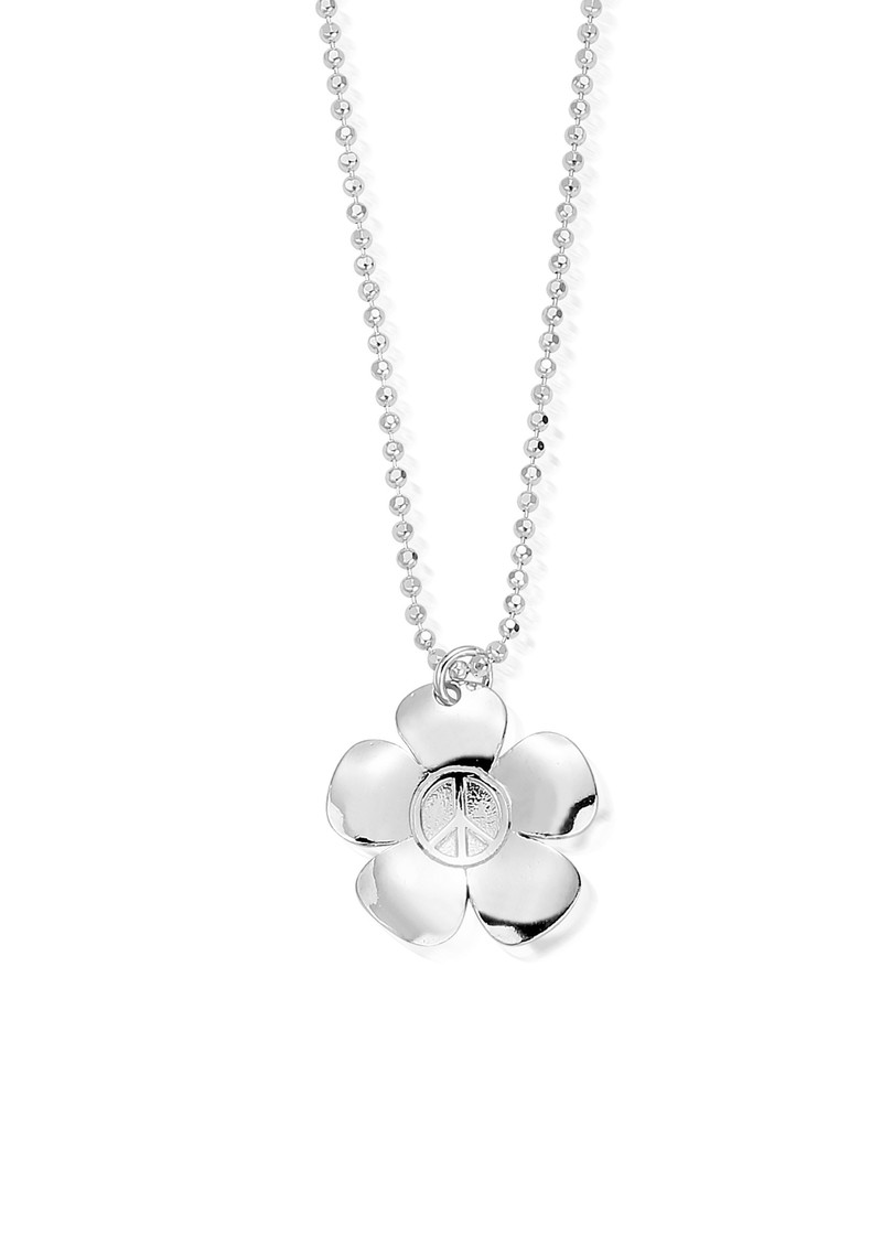 ChloBo Newbies Diamond Cut Chain With Peace Flower Pendant - Silver main image