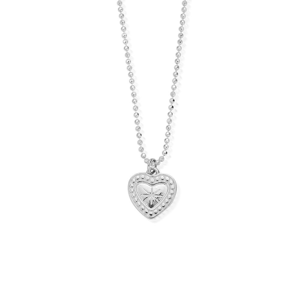 Newbies Diamond Cut Chain With Star Heart Pendant - Silver