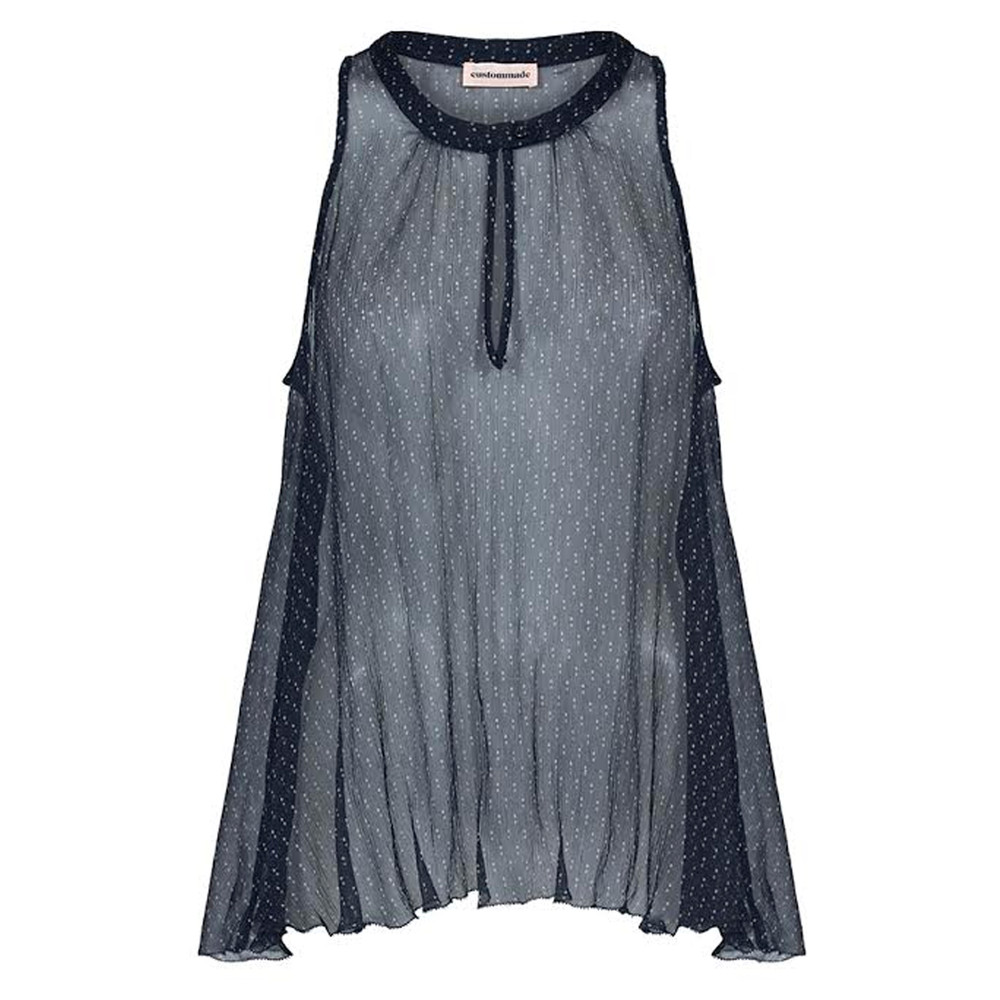 Narin Sheer Silk Top - Navy Blazer
