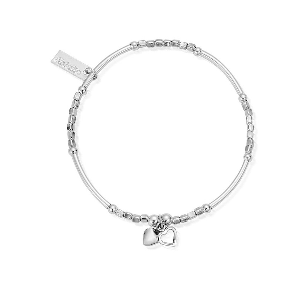 Newbies Mini Noodle Cube Two Heart Bracelet - Silver