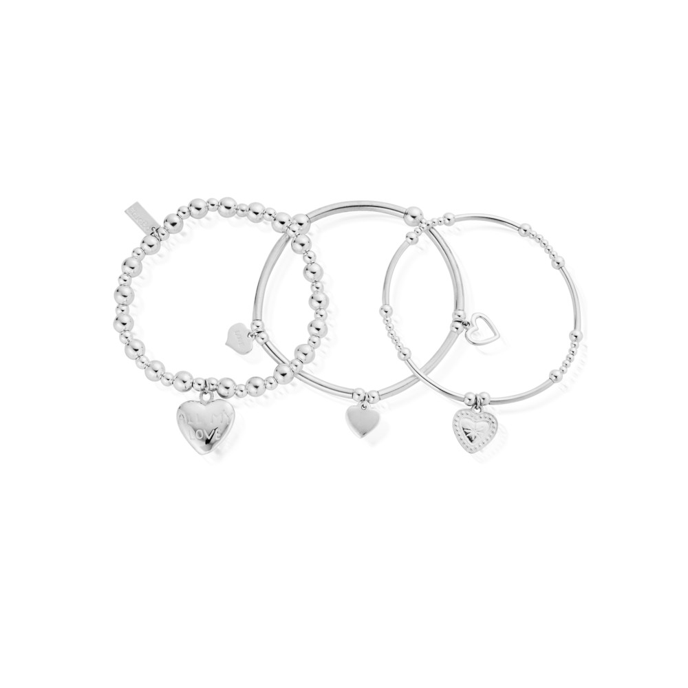 Stack of 3 Love Bracelets - Silver